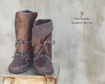 SALE-40%OFF!! Leather Boots for Women Brown Moccasin/Long Medium Short