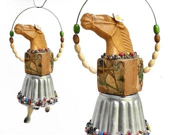 horse art, art doll ornament, anthropomorphic art, jump roping horse, mixed media assemblage, handmade original, by Elizabeth Rosen