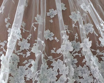 heavy embroidered lace fabric with 3D flowers, tulle lace fabric with floral embroidery, bridal lace fabric on sale