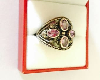 Art Deco amethyst ring Size 10., Vintage silver, stamped, Clearance Sale, item No. S503