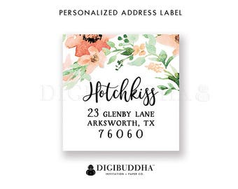 Custom Address Labels Floral Custom Return Address Labels Floral Watercolor Label Printable Return Address Label DIY or Printed- Kaylee
