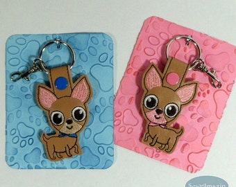 Chihuahua Dog Breed Snap Key Fob, Purse Charm