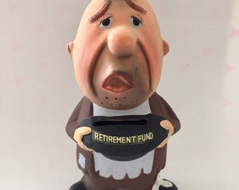 "Vintage 1950s 60s ""Retirement Fund"" Chalkware Bank by dabs Japan"