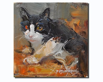 Western cat  portrait Original Oil Panel Painting 6x6""