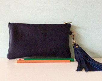 Blue leather clutch, small navy zipped purse, deep blue leather make up bag, pencil case by Ginger and Brown