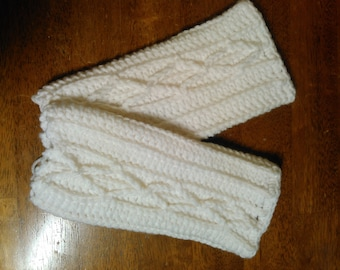 White Cable Fingerless Gloves - Ready to Ship