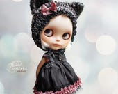 BLYTHE Dress CAT NOIR, Vintage Romantic Collection By Odd Princess Atelier, Hand Knitted, Special Outfit