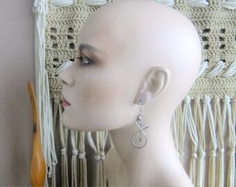 70s earrings, sterling silver earrings, minimalist earrings, modernist earrings, vintage jewelry, vintage sterling