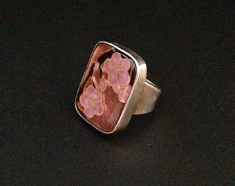 Cherry blossom cloisonné and sterling silver ring