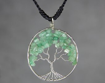 Jade tree of life branch wiring pendant necklace Free US Shipping handmade Anni Designs