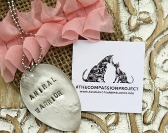Animal Warrior Charity Necklace / Stamped Necklace
