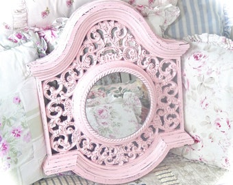SUMMER SALE Shabby Vintage Baroque Scrolled Ornate Rose Petal Pink Circle Wall Mirror Carved Fancy Posh Princess Mirror Cottage Chic