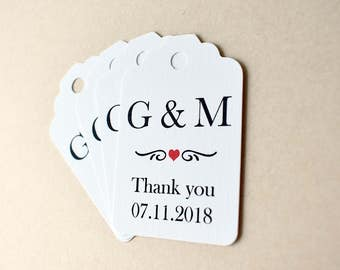 Personalised favour tags, customise your wedding bonbonniere, red heart gift tag, black white red wedding, wedding favour, thank you tag