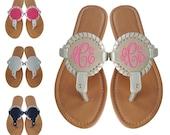 Monogrammed Sandals, Monogram Flip Flops, Monogram Medallion Sandals, Monogrammed interchangeable Medallion Sandals