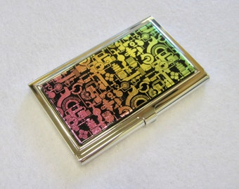 Steampunk Red/Orange/Yellow Fused Glass Business Card Holder, Metal Card Case, Credit Card Case