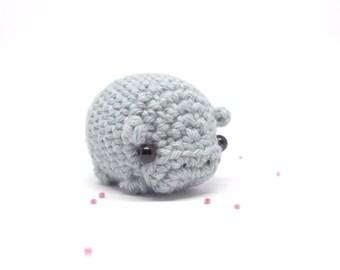 crochet hippo stuffed animal - blue hippo plush