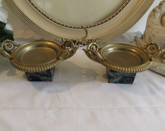 Vintage French pair of adorable ormolu and marble low but large candle holders.