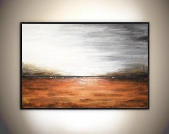 Large Landscape Painting original modern abstract painting 24 x 36 amber gray landscape oil painting by L.Beiboer