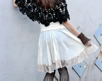 Gauzy Steampunk Skirt, Skater Skirt, Summer Festival cotton circle skirt