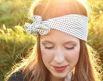 Turban Headband - Black and White Polka Dot Turban Headband