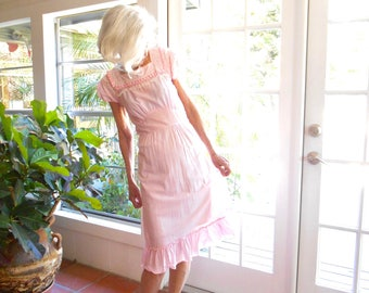 Vintage mini checked dress pink lace ruffled short sleeve: small