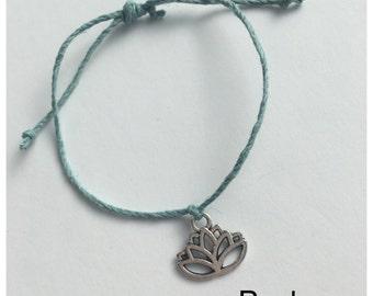 Seashell Jewelry ... Wish Bracelet ... Adjustable ... Lotus on Blue  (1468)