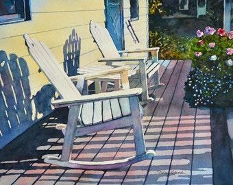 Watercolor ORIGINAL - Porch Rockers - summer, porch, geranium, rocking chair, vacation, relax