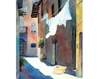 Watercolor ORIGINAL - Laundry - washing, clothesline, europe, alley, city, travel, souvenir