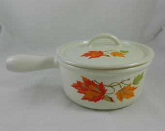 Vintage Descoware Belgium 7-B 16 FE Maple Leaf Pot Saucepan with Lid