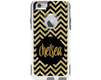 Custom Otterbox Commuter Case for iPhone 6 and iPhone 6s | Gold Glitter Chevron Custom Otterbox Phone Case