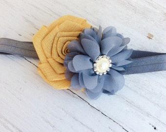 Gray mustard yellow headband baby girl headband newborn headband little girl headband toddler headband valentine headband