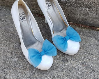 Ocean Blue Shoe Clips, Wedding Shoe Clips, Bridal Shoe Clips, Organza Bow Clips,  Shoe Clips for Wedding Shoes, Bridal Shoes, MANY COLORS