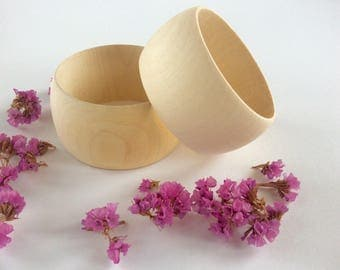 Wooden bangle 40 mm / set of 2 / natural unfinished wood  / wooden bracelet