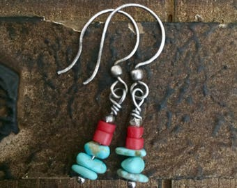 Arizona Turquoise and coral sterling silver earrings