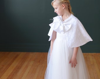 Flower girl and communion lace and satin cape