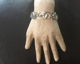 Vintage / Antique Sterling Silver Horsehead Bracelet circa 1950