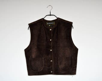 Vintage Dark Brown Suede Crop Vest Genuine Leather Western Waistcoat