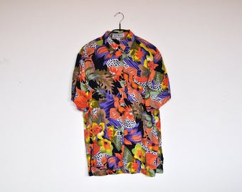 Vintage Colorful Tropical Print Button Up Short Sleeve Blouse