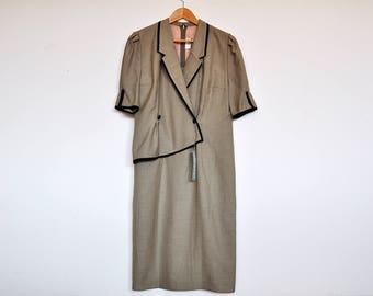 NOS Vintage Silky Beige Layered Formal Shift Collar Dress