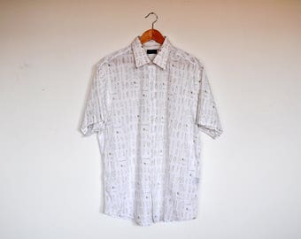 Vintage White Surfer Shirt Surfboards Print Summer Short Sleeve Button Up Size XXL