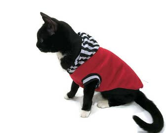 Red Striped Cat Hoodie -Cat Clothes-Cat Shirt-Sleeveless Cat Hoodie-Cat Clothing-Cat Sweater-Clothes for Cats - Cat Hoodies-Shirts for Cats