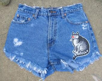 High waist upcycled vintage cut off KILBAN CAT denim shorts