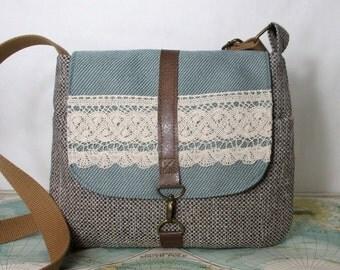 Heirloom lace -- Crossbody messenger bag // Vegan purse // Crossover // Field bag // Satchel // Mint // Adjustable strap // Ready to ship
