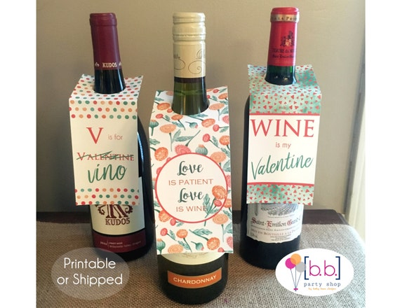 Valentine's Day Wine Tag Printable or Shipped