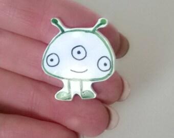 Alien Pin Brooch Ooak Jewelry Cute