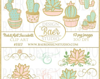 Cactus Clip Art, Succulent Clip Art, Mint, Pink and Gold Digital Clip Art, Pink Cactus Digital Clip Art, Mint Cactus Digital Clip Art, #5517