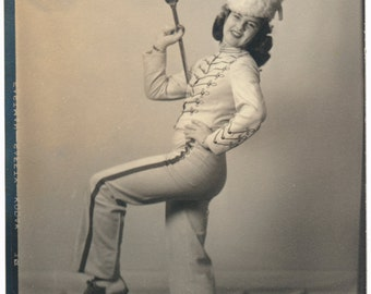 Drum Majorette Baton mid century retro found art photo vernacular photography social realism original old photograph ephemera