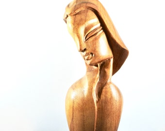 Carved Wooden Woman's Head- Female Figure