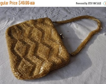 WELCOME SPRING SALE Gold Beaded Walborg Pouch Purse/Vintage 1950s 1960s/Formal Evening Handbag