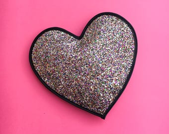 Rainbow Glitter Love Heart Clutch Handbag